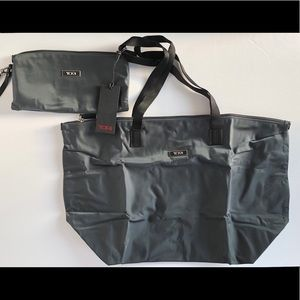 TUMI Just In Case grey shopper with storage pouch